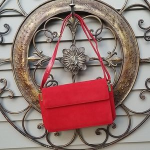 Charles Jorudan Red Leather & Suede Purse